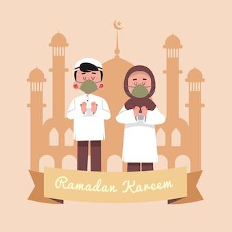 Ramadan kareem, illustrazione islamica religiosa del fumetto
