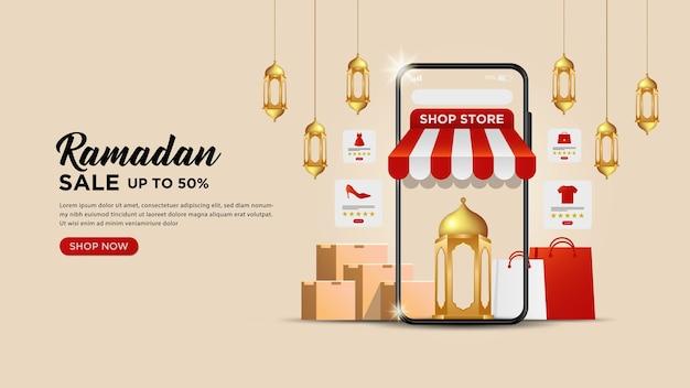 Modello di banner di vendita di ramadan kareem o concetti di siti web