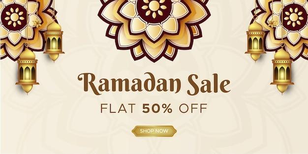 Banner di vendita di ramadan kareem w