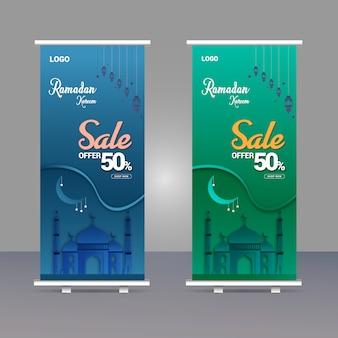 Ramadan kareem vendita roll up banner template