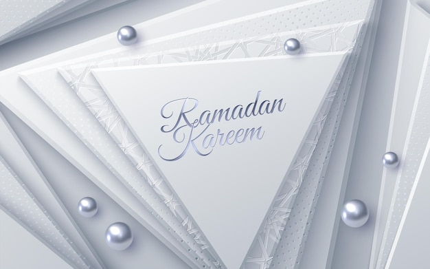 Segno di ramadan kareem con forme geometriche triangolari e perle argentate