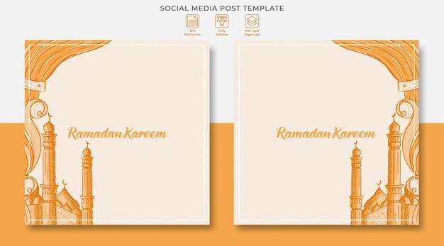Ramadan kareem social media post design con illustrazione disegnata a mano di ornamento islamico