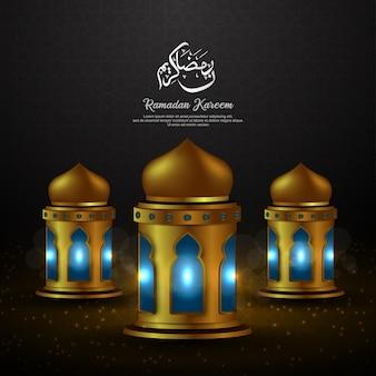 Ramadan kareem con calligrafia araba