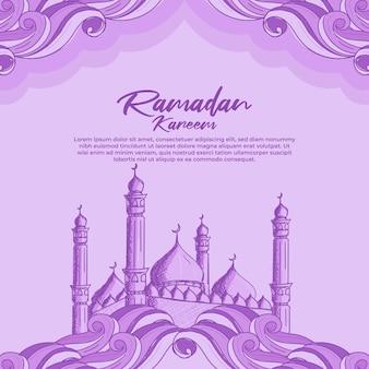 Ramadan kareem con illustrazione della moschea islamica disegnata a mano