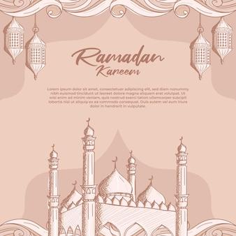 Ramadan kareem con la moschea islamica disegnata a mano e il fondo dell'illustrazione della lanterna