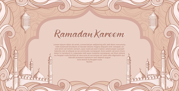 Ramadan kareem con moschea islamica disegnata a mano e illustrazione della lanterna