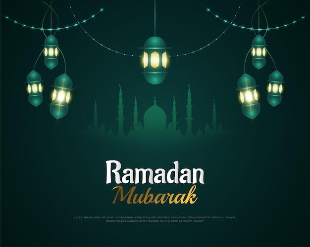 Ramadan kareem con silhouette della moschea e lanterna elegante
