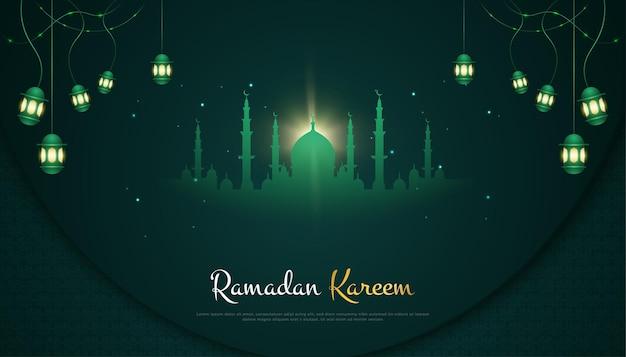 Ramadan kareem con silhouette di moschea e lanterne sospese