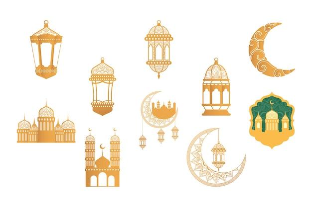 Ramadan kareen celebrazione bundle set dorato icone illustrazione design