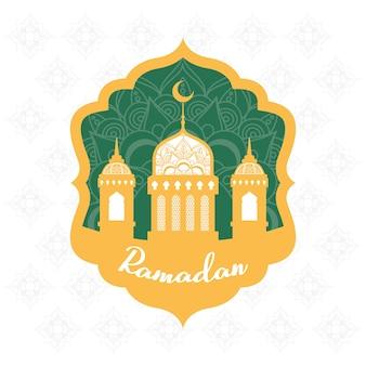 Cornice di celebrazione di ramadan kareen con disegno di illustrazione della moschea dorata