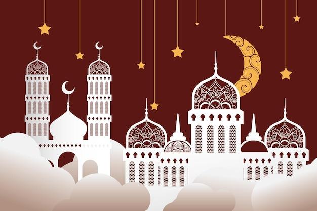 Moschee di celebrazione di ramadan kareen con stelle dorate e disegno di illustrazione appeso alla luna