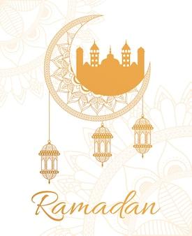 Iscrizione di ramadan kareen con lanterne appese nella progettazione dell'illustrazione della moschea e della luna