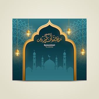 Biglietto di auguri di ramadan karreem con ornamenti mandala verdi, lanterna antica e illustrazione della moschea piatta