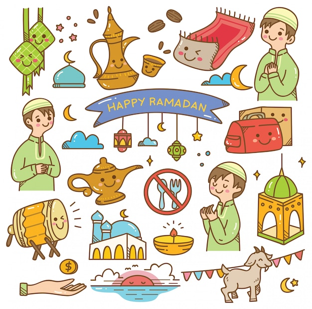 Doodle di ramadan kawaii