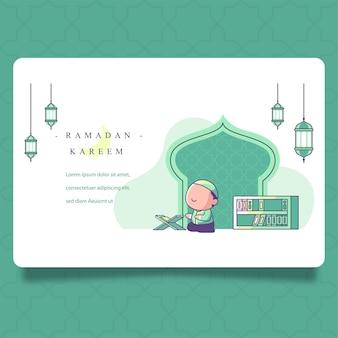 Ramadan. ragazzo musulmano che prega dopo aver letto il corano