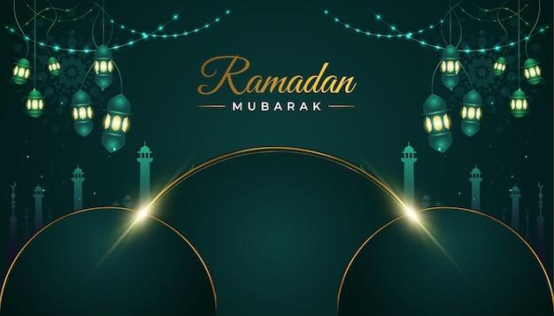 Sfondo di ramadan mubarak con moschea e lanterne su carta verde lussuosa tagliata