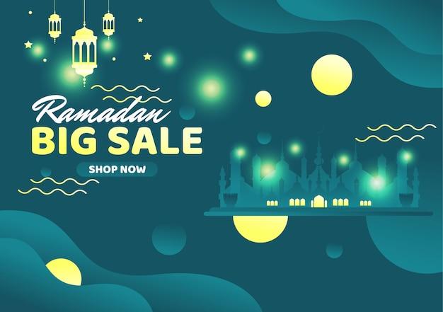 Banner di grande vendita di ramadan mubarak