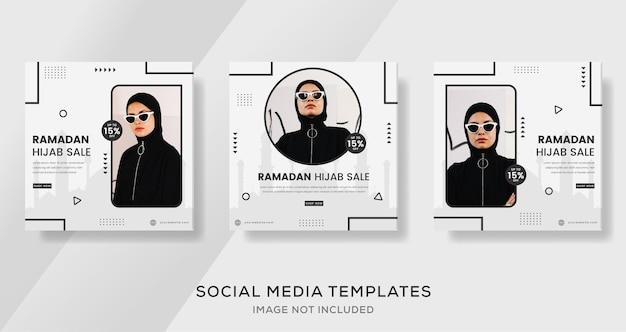 Ramadan mubarak vendita di moda post per modello di banner musulmano hijab