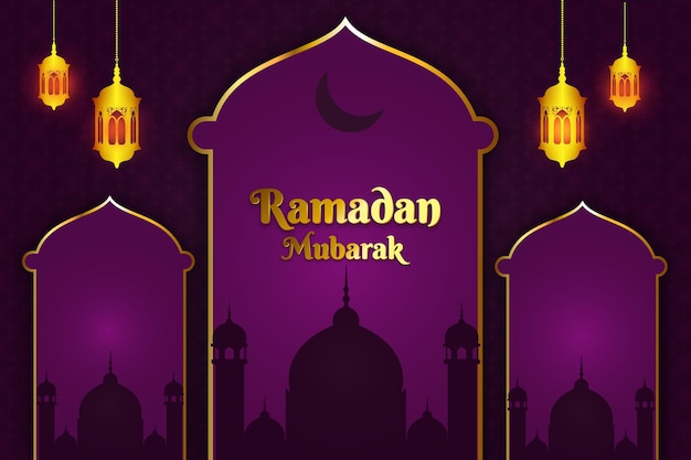 Ramadan mubarak moschea piatta di colore di sfondo viola e oro