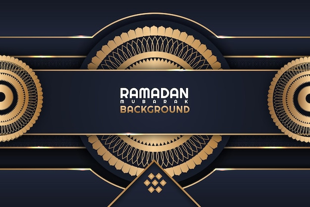 Ramadan mubarak fiore dorato colore di sfondo blu scuro e oro