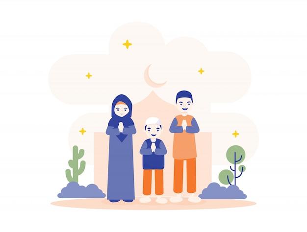 Ramadan mubarak con la piccola illustrazione della famiglia