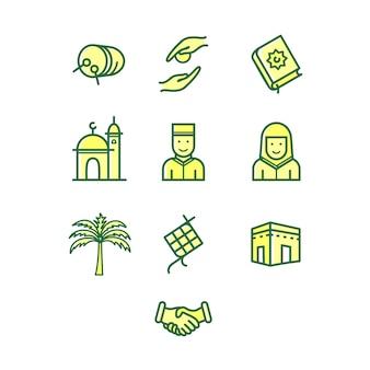Set di icone di mussola ramadan