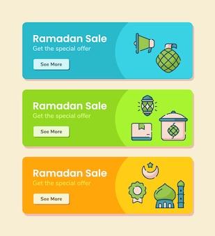 Vendita del ramadan per il modello dell'insegna con l'illustrazione di disegno di vettore di stile di linea tratteggiata