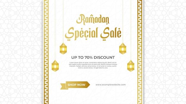Banner di vendita di ramadan con cornice di ornamento decorativo di lusso elegante