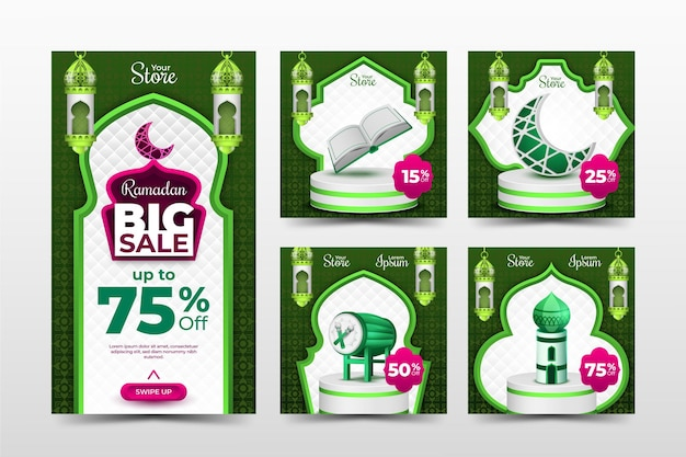 Modello di instagram di vendita di ramadan con tema verde e rosa