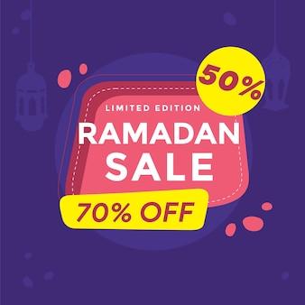 Ramadan offerta di vendita banner design con abstrak