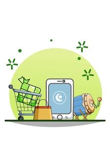 Illustrazione del fumetto dello shopping online di vendita di ramadan