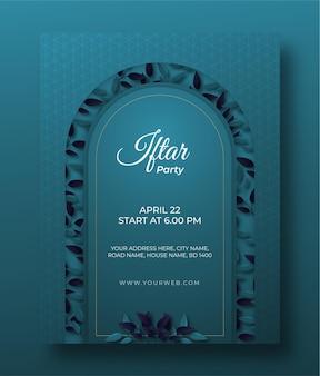 Manifesto del partito iftar verticale di ramadan con foglie di carta