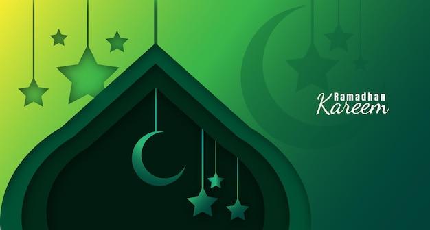 Sfondo ramadhan kareem con mezza luna, stelle e stile taglio carta