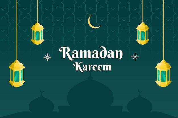 Ramadhan kareem banner design con moschea di lanterne dorate e sfondo verde