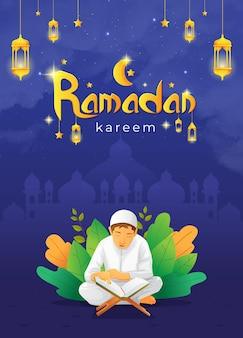 Biglietto di auguri di ramadhan kareem con bambino che legge il corano