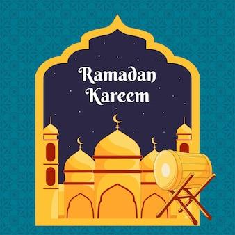 Ramdan kareem design con illustrazione della moschea