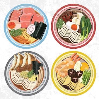 Ramen ciotola zuppa di noodles tempura giappone cibo cottura funghi orientale