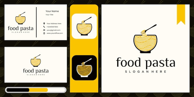 Logo ramen per ristorante fast food cibo coreano logo cibo giapponese con biglietto da visita
