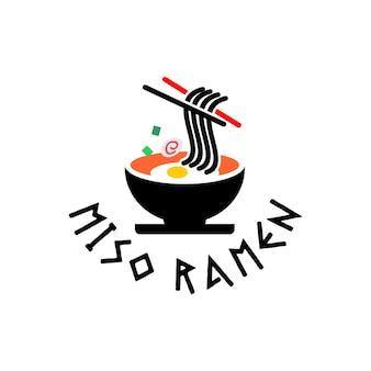 Ramen logo noodles idee di design grafico con ciotola e bacchette vector