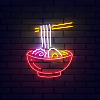 Insegna al neon ramen, insegna luminosa, striscione luminoso. ramen logo neon, emblema. illustrazione vettoriale