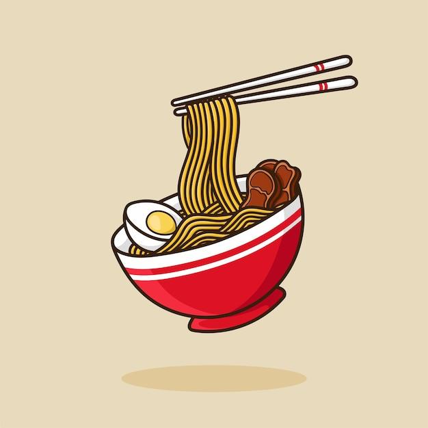Ramen noodle bowl uovo e carne con le bacchette vettore cartoon