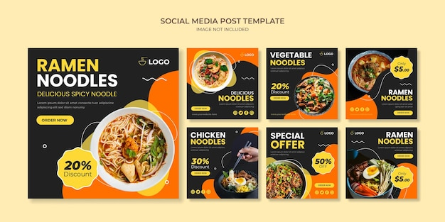 Ramen noodle social media instagram post template per ristorante giapponese