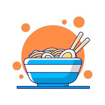 Ramen noodle vector in flat design illustration