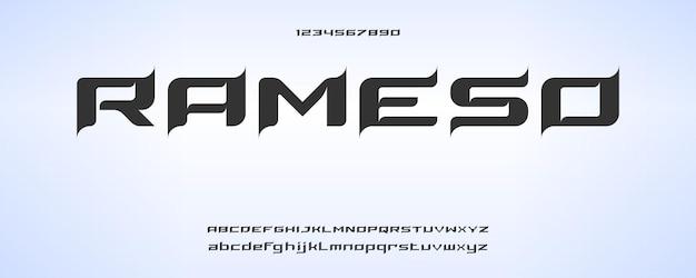 Rameso, carattere alfabeto moderno digitale con modello in stile urbano