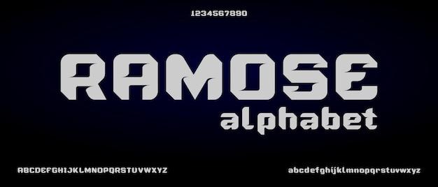 Ramose, alfabeto creativo moderno con modello in stile urbano