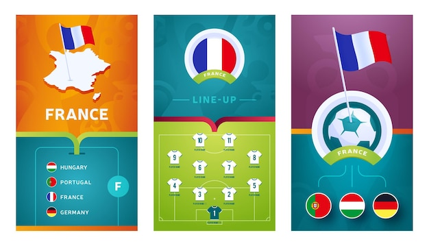 Banner verticale di calcio europeo della squadra di rance impostato per i social media. banner di gruppo rance con mappa isometrica, bandiera a spillo, programma delle partite e formazione sul campo di calcio.
