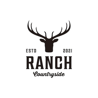 Ranch vintage retrò silhouette design del logo dei cervi