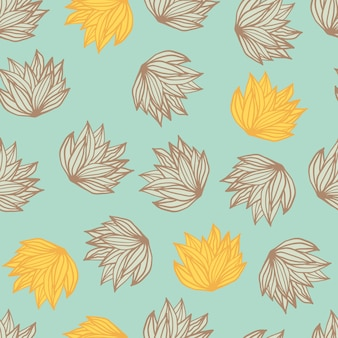 Il cespuglio casuale lascia il reticolo senza giunte di doodle. fondo azzurro con fogliame sagomato giallo e marrone.
