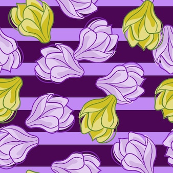 Modello senza cuciture degli elementi di fiori di magnolia sagomati casuali. sfondo a righe viola. stile semplice. stampa vettoriale piatta per tessuti, tessuti, confezioni regalo, sfondi. illustrazione infinita.
