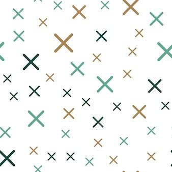 Motivo a croci casuali, sfondo geometrico astratto in stile retrò anni '80 e '90. illustrazione geometrica colorata